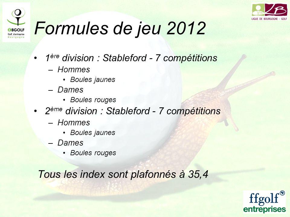 Formules de jeu 2012 1 ère division : Stableford - 7 compétitions –Hommes Boules jaunes –Dames Boules rouges 2 ème division : Stableford - 7 compétiti