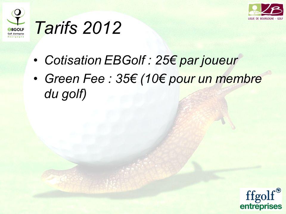 Tarifs 2012 Cotisation EBGolf : 25 par joueur Green Fee : 35 (10 pour un membre du golf)