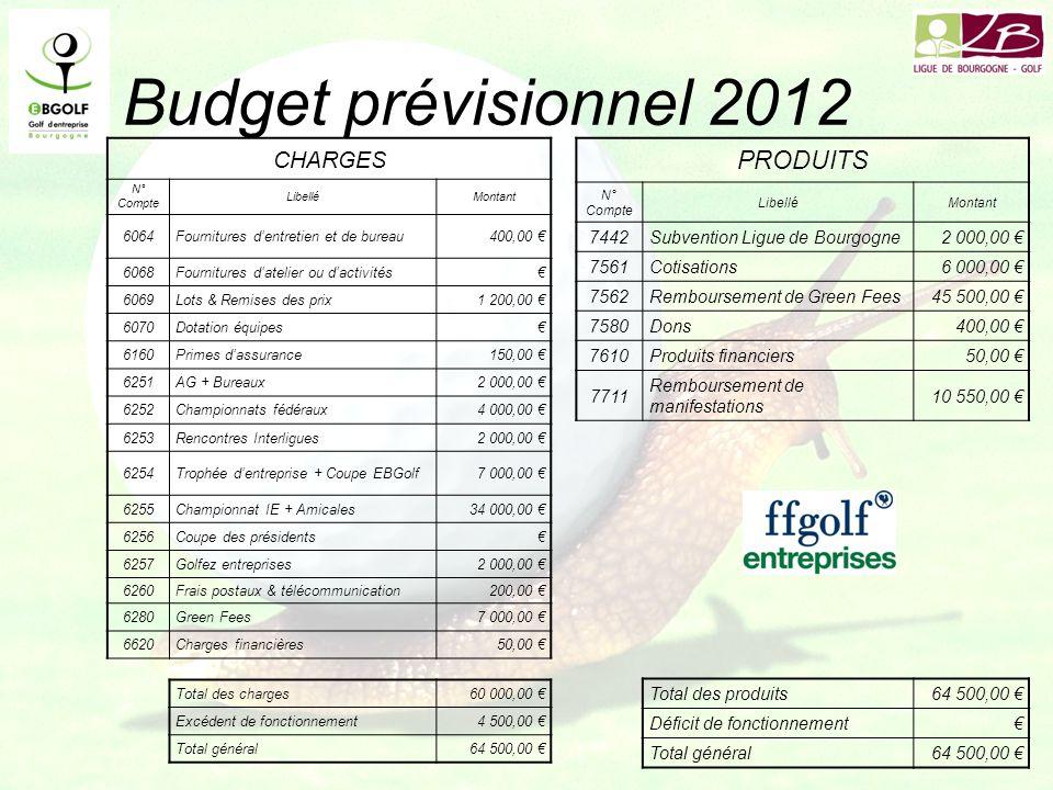 Budget prévisionnel 2012 CHARGES N° Compte LibelléMontant 6064Fournitures dentretien et de bureau400,00 6068Fournitures datelier ou dactivités 6069Lot