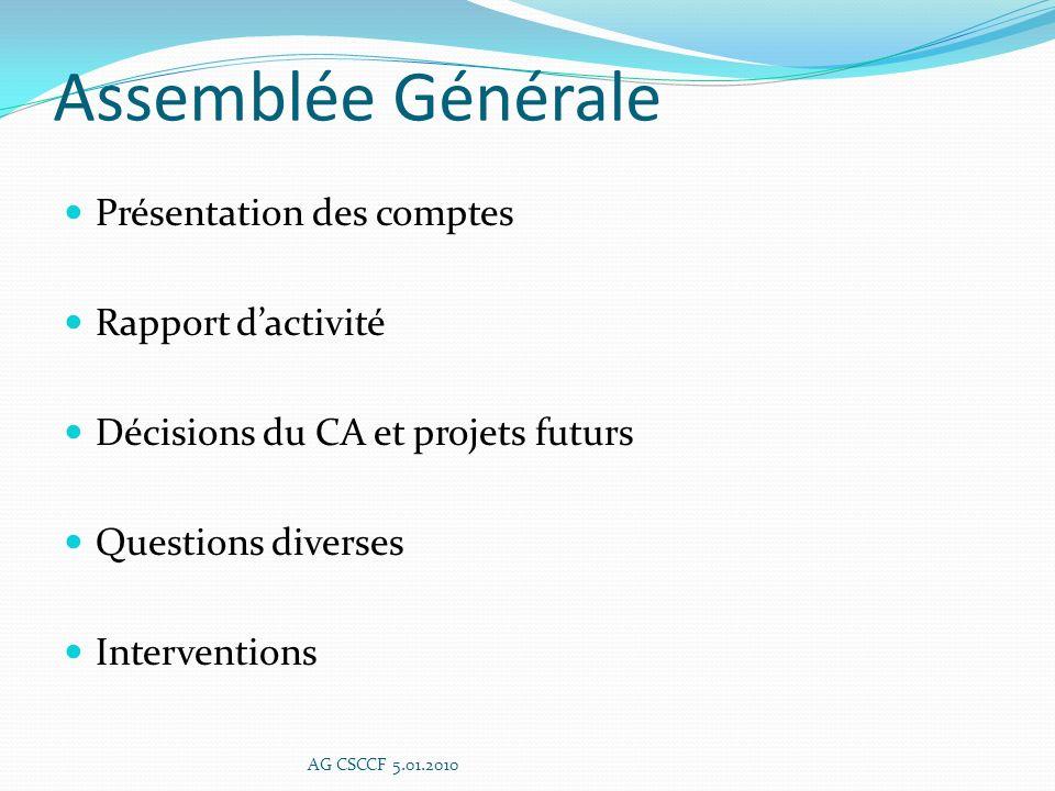 ACTIONS EXTERNES AG CSCCF 5.01.2010