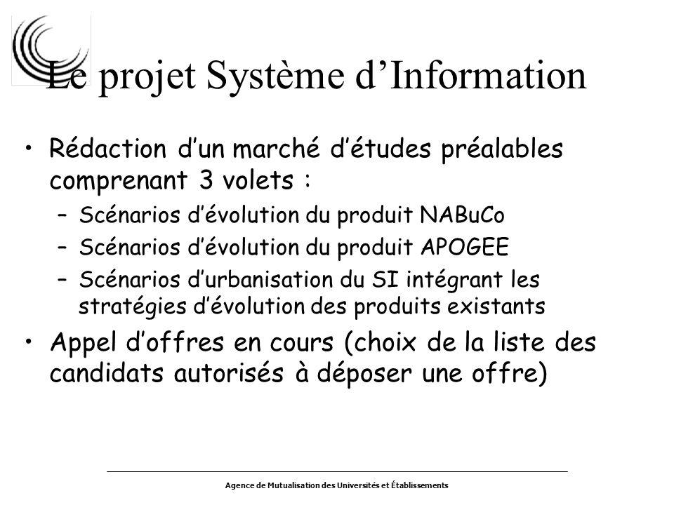 Agence de Mutualisation des Universités et Établissements Le projet Système dInformation Rédaction dun marché détudes préalables comprenant 3 volets :