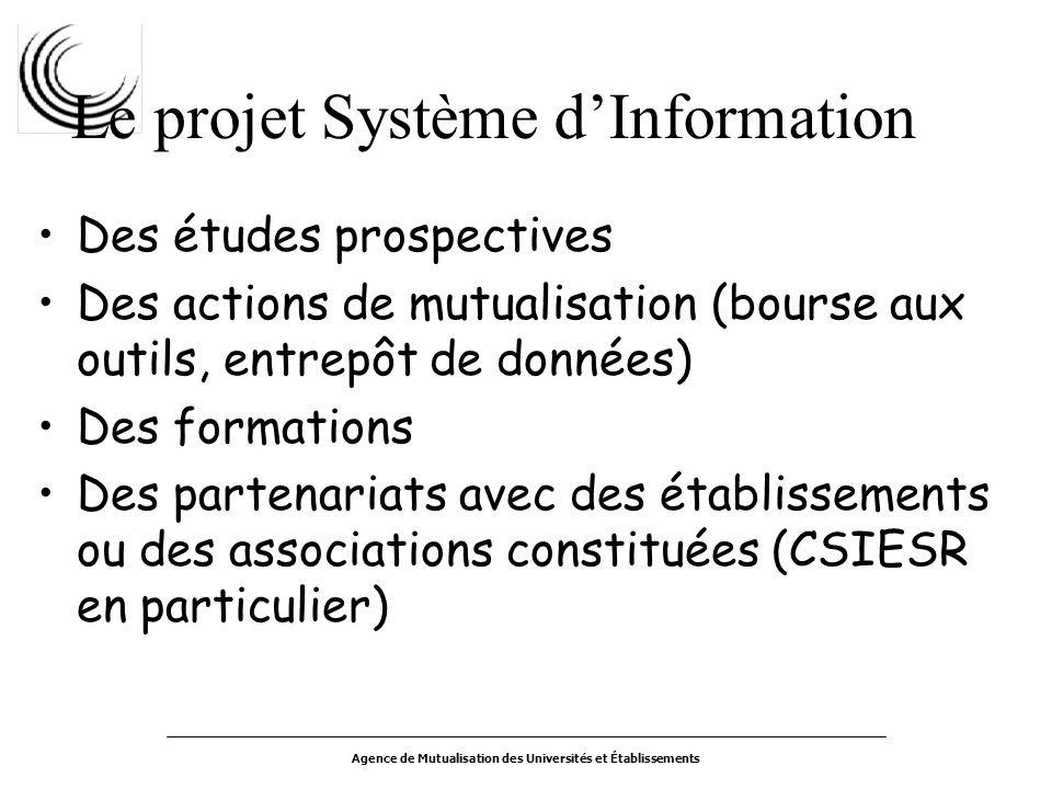 Agence de Mutualisation des Universités et Établissements Le projet Système dInformation Des études prospectives Des actions de mutualisation (bourse