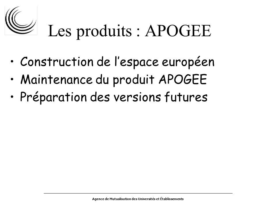 Agence de Mutualisation des Universités et Établissements Les produits : APOGEE Construction de lespace européen Maintenance du produit APOGEE Préparation des versions futures