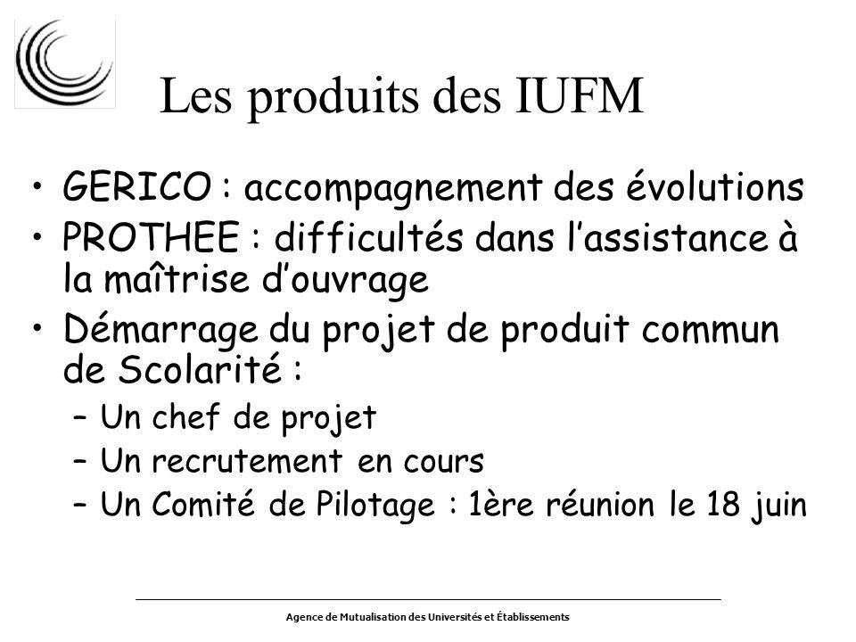Agence de Mutualisation des Universités et Établissements Les produits des IUFM GERICO : accompagnement des évolutions PROTHEE : difficultés dans lass