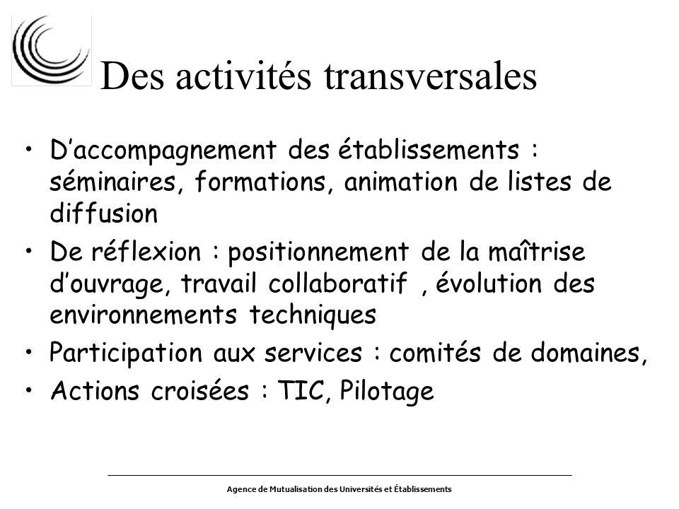 Agence de Mutualisation des Universités et Établissements Des activités transversales Daccompagnement des établissements : séminaires, formations, ani