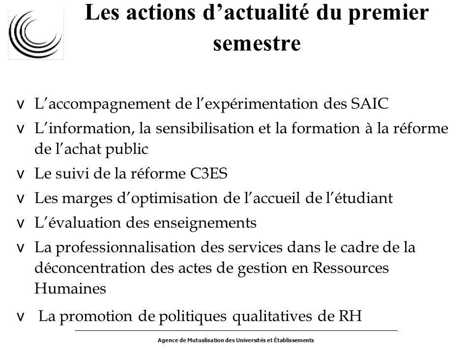 Agence de Mutualisation des Universités et Établissements Les actions dactualité du premier semestre v Laccompagnement de lexpérimentation des SAIC v