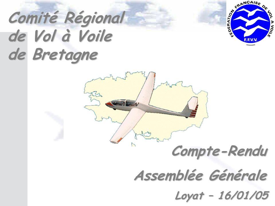 Comité Régional de Vol à Voile de Bretagne Compte-Rendu Assemblée Générale Assemblée Générale Loyat – 16/01/05 Loyat – 16/01/05