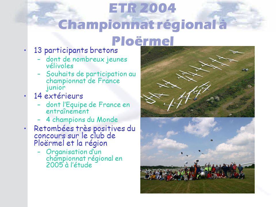 ETR 2004 Championnat régional à Ploërmel 13 participants bretons –dont de nombreux jeunes vélivoles –Souhaits de participation au championnat de Franc