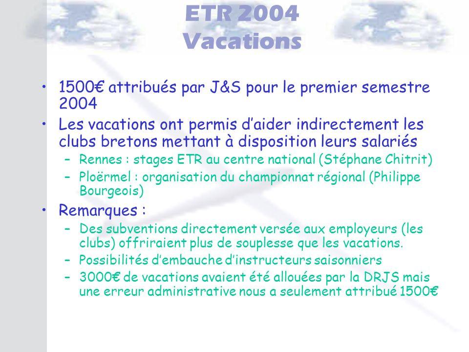 ETR 2004 Vacations 1500 attribués par J&S pour le premier semestre 2004 Les vacations ont permis daider indirectement les clubs bretons mettant à disp