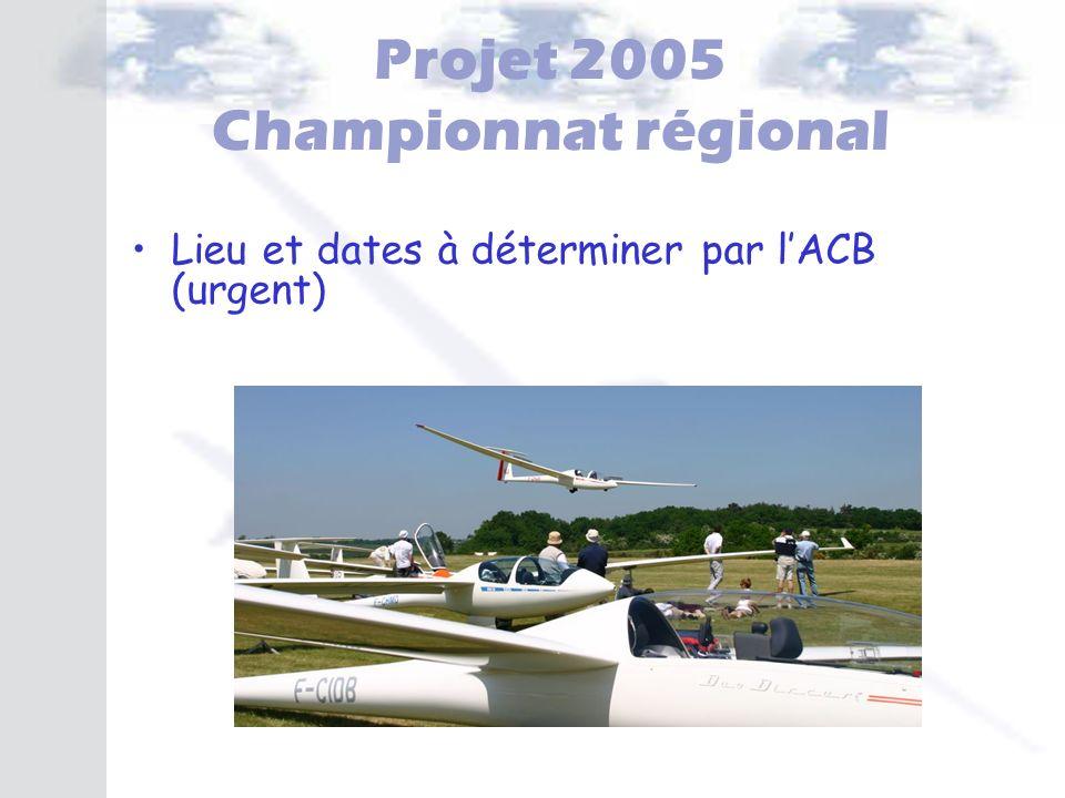 Projet 2005 Championnat régional Lieu et dates à déterminer par lACB (urgent)