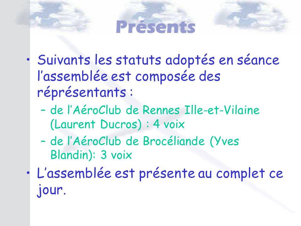 Présents Suivants les statuts adoptés en séance lassemblée est composée des réprésentants : –de lAéroClub de Rennes Ille-et-Vilaine (Laurent Ducros) :