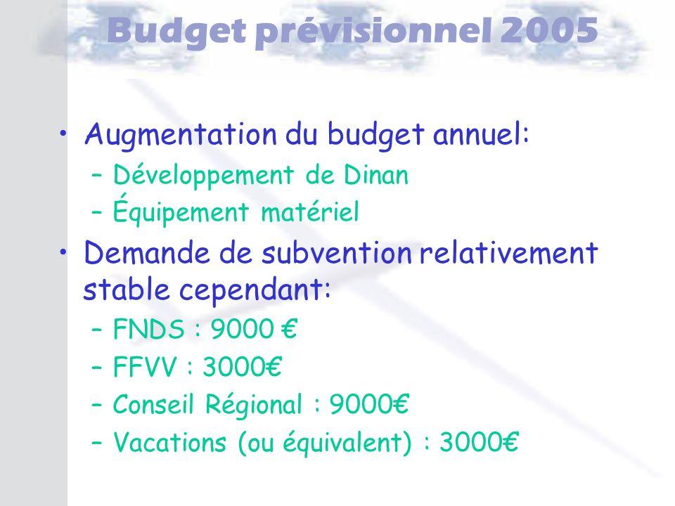 Budget prévisionnel 2005 Augmentation du budget annuel: –Développement de Dinan –Équipement matériel Demande de subvention relativement stable cependa