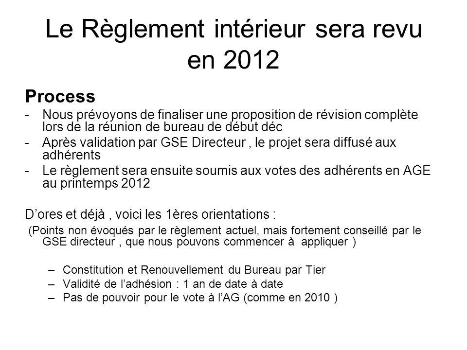 Le Règlement intérieur sera revu en 2012 Process -Nous prévoyons de finaliser une proposition de révision complète lors de la réunion de bureau de déb