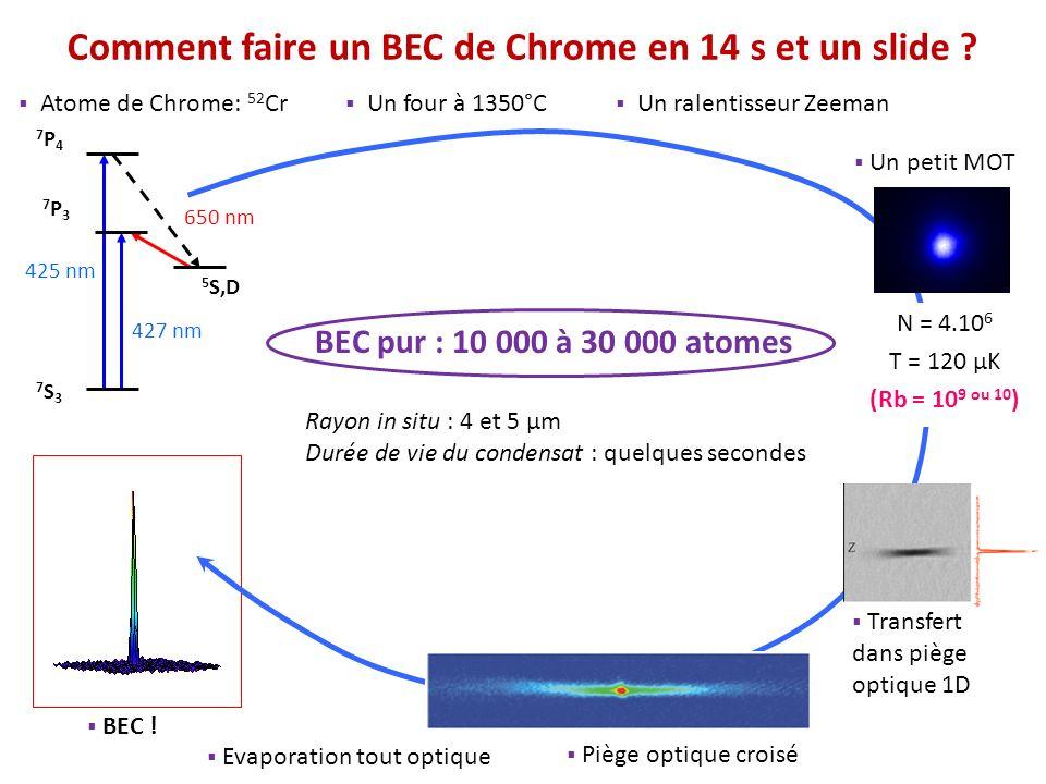 425 nm 427 nm 650 nm 7S37S3 5 S,D 7P37P3 7P47P4 Piège optique croisé BEC ! Transfert dans piège optique 1D Atome de Chrome: 52 Cr Un four à 1350°C Un