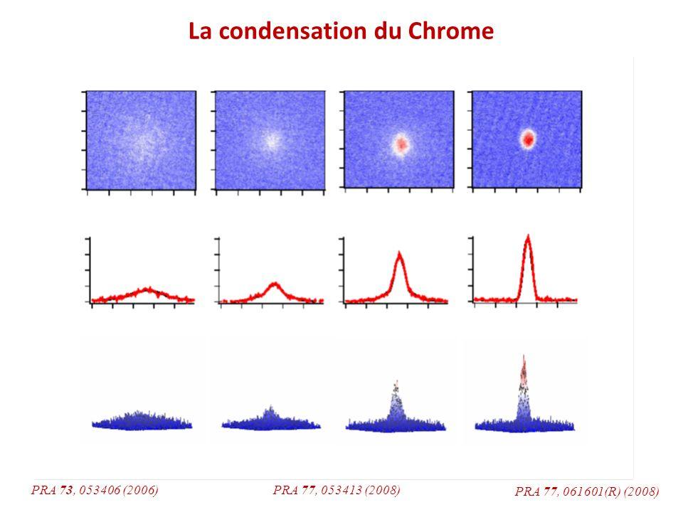 Particularité du Chrome : Spin 3 Fort moment magnétique permanent Fortes interactions dipôle dipôle, différentes des interactions de contact (Van der Walls): Longue portée (1/r 3 au lieu de 1/r 6 ) Anisotrope BEC de Chrome : fortes interactions dipolaires + + -- + + - - Relaxation dipolaire : - - Collision avec changement de magnétisation (m S = +3 => m S = +2) Gain dénergie cinétique et création de moment orbital