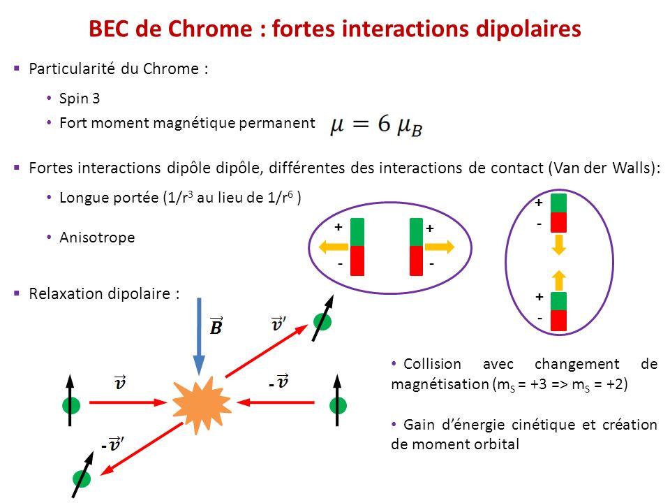 Particularité du Chrome : Spin 3 Fort moment magnétique permanent Fortes interactions dipôle dipôle, différentes des interactions de contact (Van der