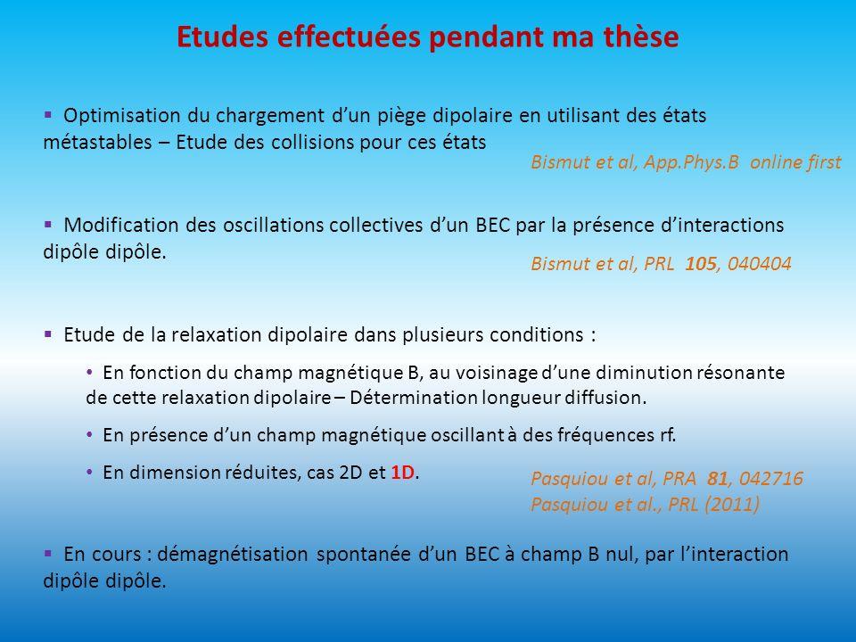 Etudes effectuées pendant ma thèse Modification des oscillations collectives dun BEC par la présence dinteractions dipôle dipôle. Optimisation du char