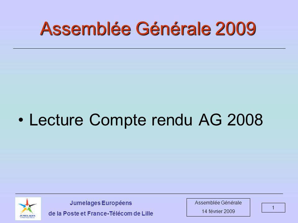 Jumelages Européens de la Poste et France-Télécom de Lille Assemblée Générale 14 février 2009 12 Relations Allemagne-Belgique-France DépensesRecettes Rencontre D + B + F à Lille 3943.76 3877.00 Bilan- 66.76