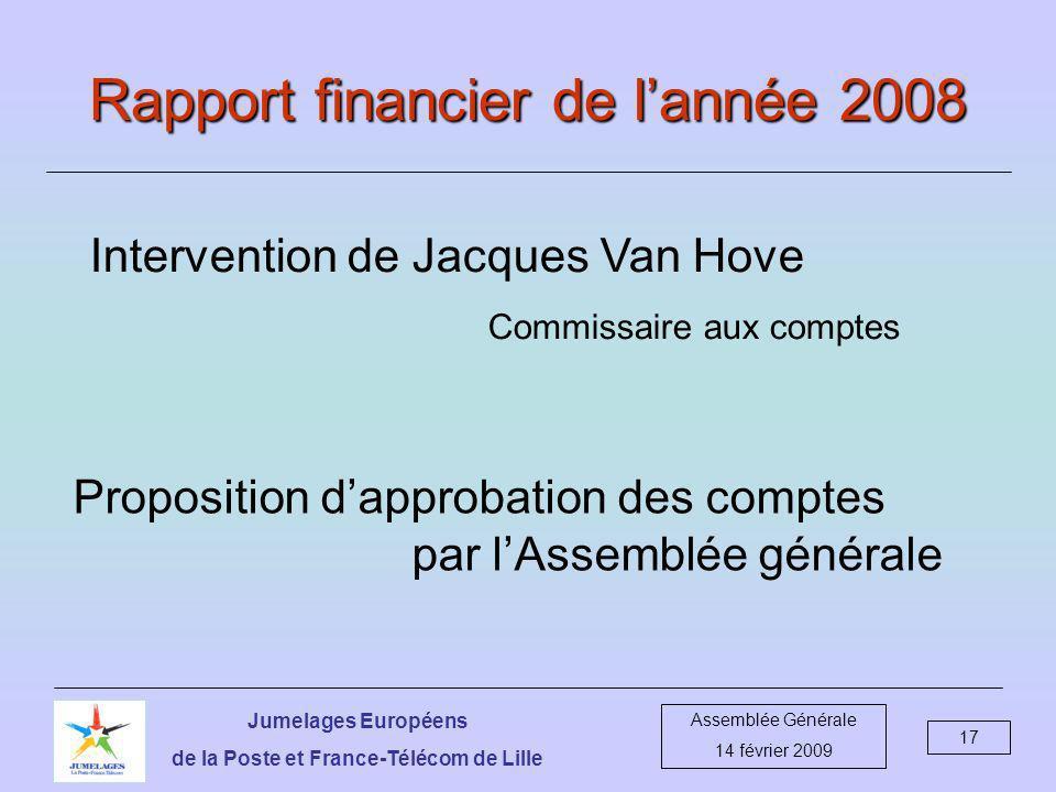 Jumelages Européens de la Poste et France-Télécom de Lille Assemblée Générale 14 février 2009 17 Rapport financier de lannée 2008 Intervention de Jacques Van Hove Commissaire aux comptes Proposition dapprobation des comptes par lAssemblée générale