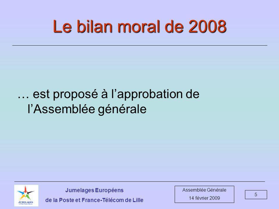 Jumelages Européens de la Poste et France-Télécom de Lille Assemblée Générale 14 février 2009 6 …à moi, comptes… deux mots .