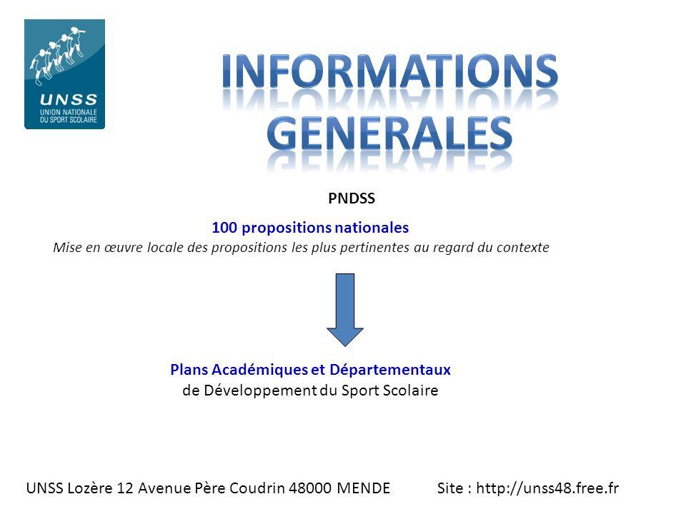 UNSS Lozère 12 Avenue Père Coudrin 48000 MENDE Site : http://unss48.free.fr 100 propositions nationales Mise en œuvre locale des propositions les plus