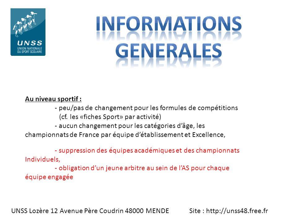 UNSS Lozère 12 Avenue Père Coudrin 48000 MENDE Site : http://unss48.free.fr Au niveau sportif : - peu/pas de changement pour les formules de compétiti