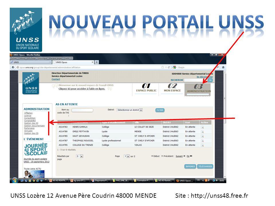 UNSS Lozère 12 Avenue Père Coudrin 48000 MENDE Site : http://unss48.free.fr