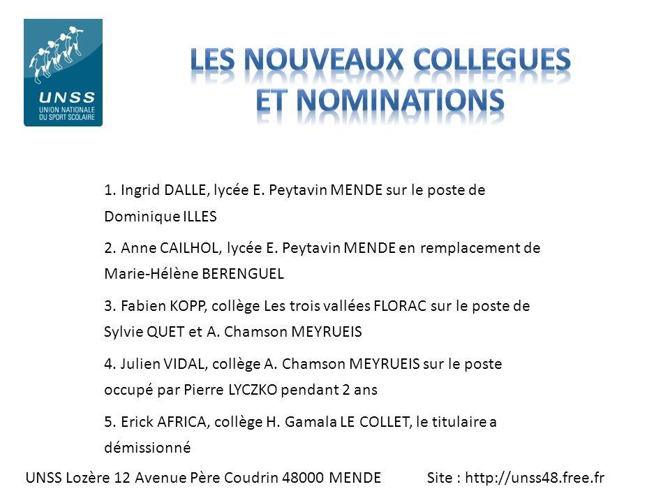 UNSS Lozère 12 Avenue Père Coudrin 48000 MENDE Site : http://unss48.free.fr 1. Ingrid DALLE, lycée E. Peytavin MENDE sur le poste de Dominique ILLES 2