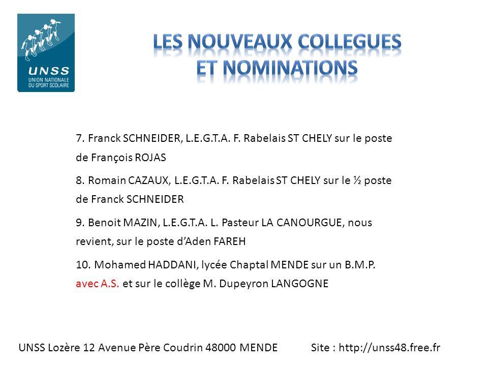 UNSS Lozère 12 Avenue Père Coudrin 48000 MENDE Site : http://unss48.free.fr 7. Franck SCHNEIDER, L.E.G.T.A. F. Rabelais ST CHELY sur le poste de Franç