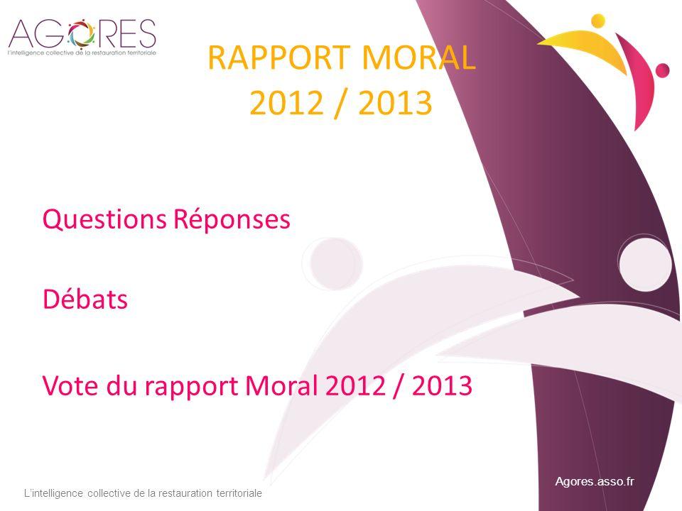 Agores.asso.fr Lintelligence collective de la restauration territoriale RAPPORT MORAL 2012 / 2013 Questions Réponses Débats Vote du rapport Moral 2012 / 2013