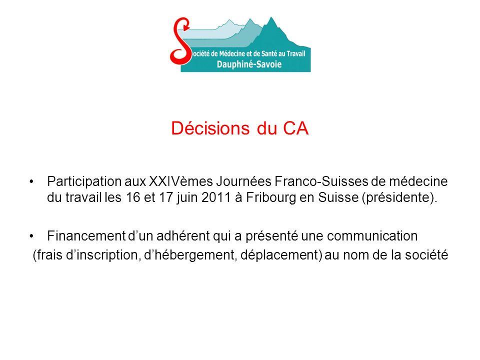 Décisions du CA Participation aux XXIVèmes Journées Franco-Suisses de médecine du travail les 16 et 17 juin 2011 à Fribourg en Suisse (présidente). Fi