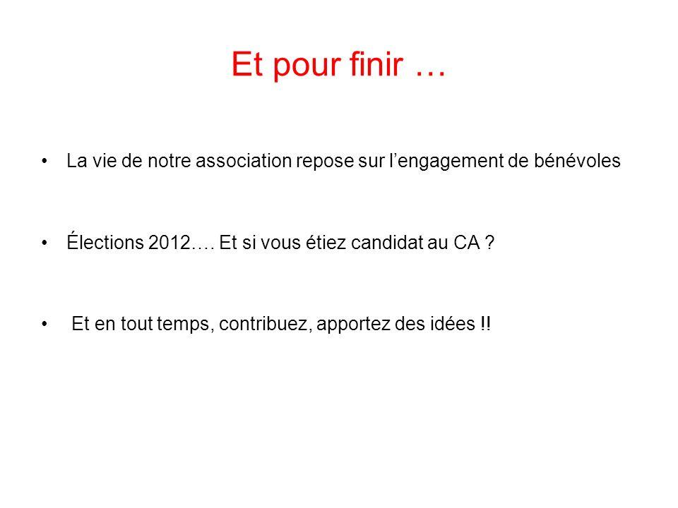 Et pour finir … La vie de notre association repose sur lengagement de bénévoles Élections 2012…. Et si vous étiez candidat au CA ? Et en tout temps, c