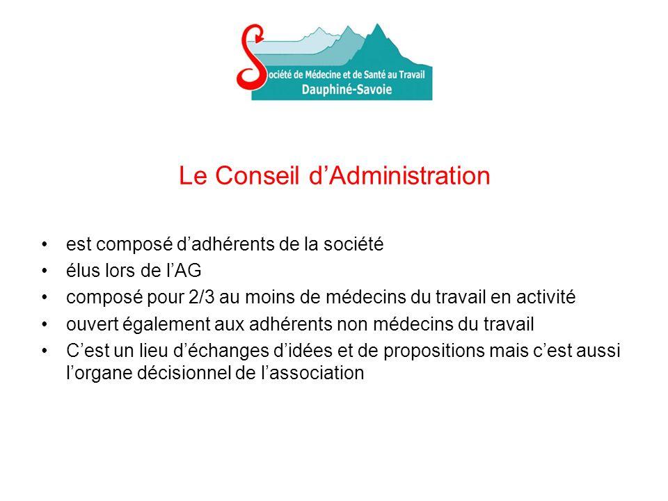 Le Conseil dAdministration est composé dadhérents de la société élus lors de lAG composé pour 2/3 au moins de médecins du travail en activité ouvert é