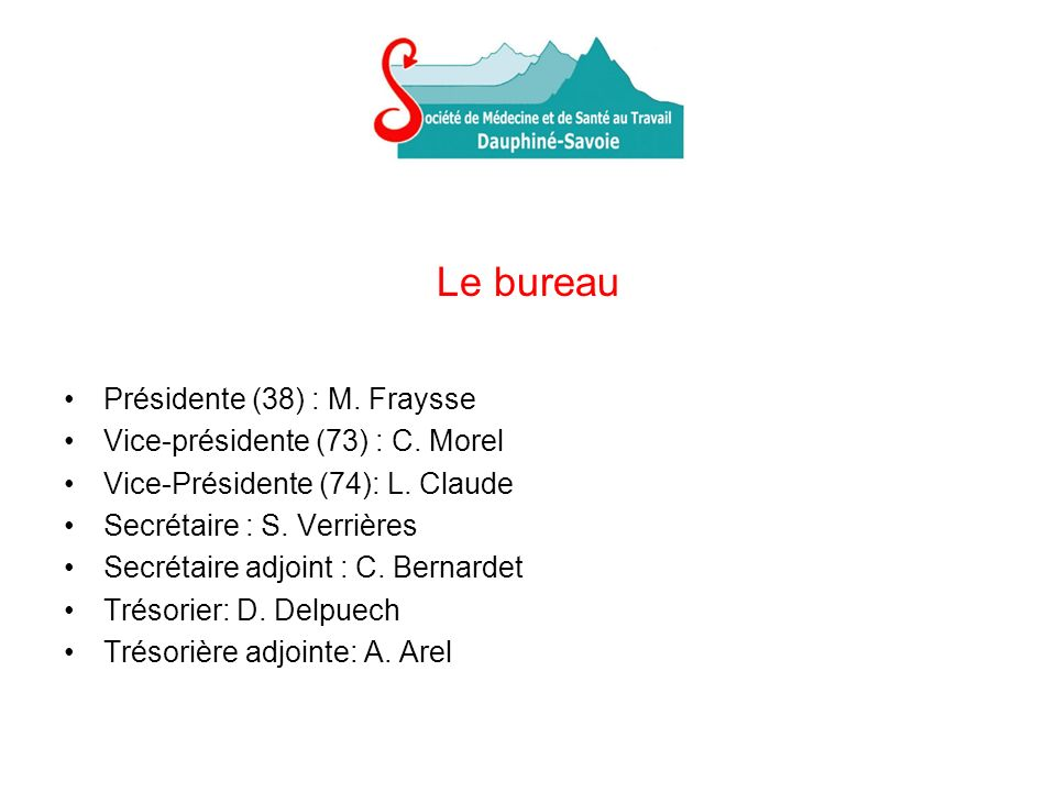 Le bureau Présidente (38) : M. Fraysse Vice-présidente (73) : C. Morel Vice-Présidente (74): L. Claude Secrétaire : S. Verrières Secrétaire adjoint :