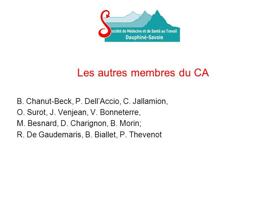 Les autres membres du CA B. Chanut-Beck, P. DellAccio, C. Jallamion, O. Surot, J. Venjean, V. Bonneterre, M. Besnard, D. Charignon, B. Morin; R. De Ga