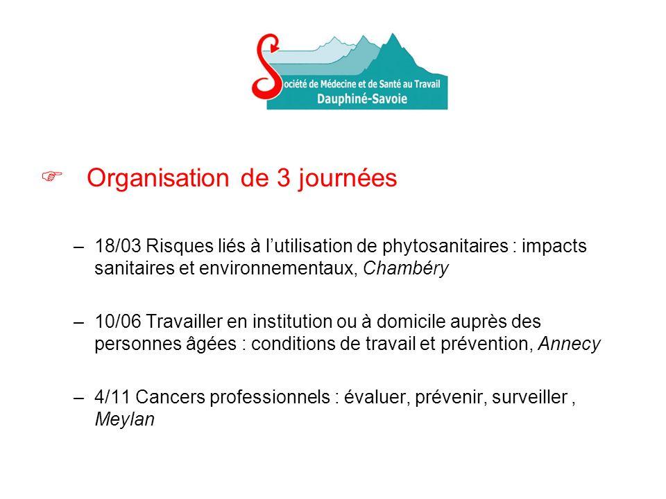 Organisation de 3 journées –18/03 Risques liés à lutilisation de phytosanitaires : impacts sanitaires et environnementaux, Chambéry –10/06 Travailler