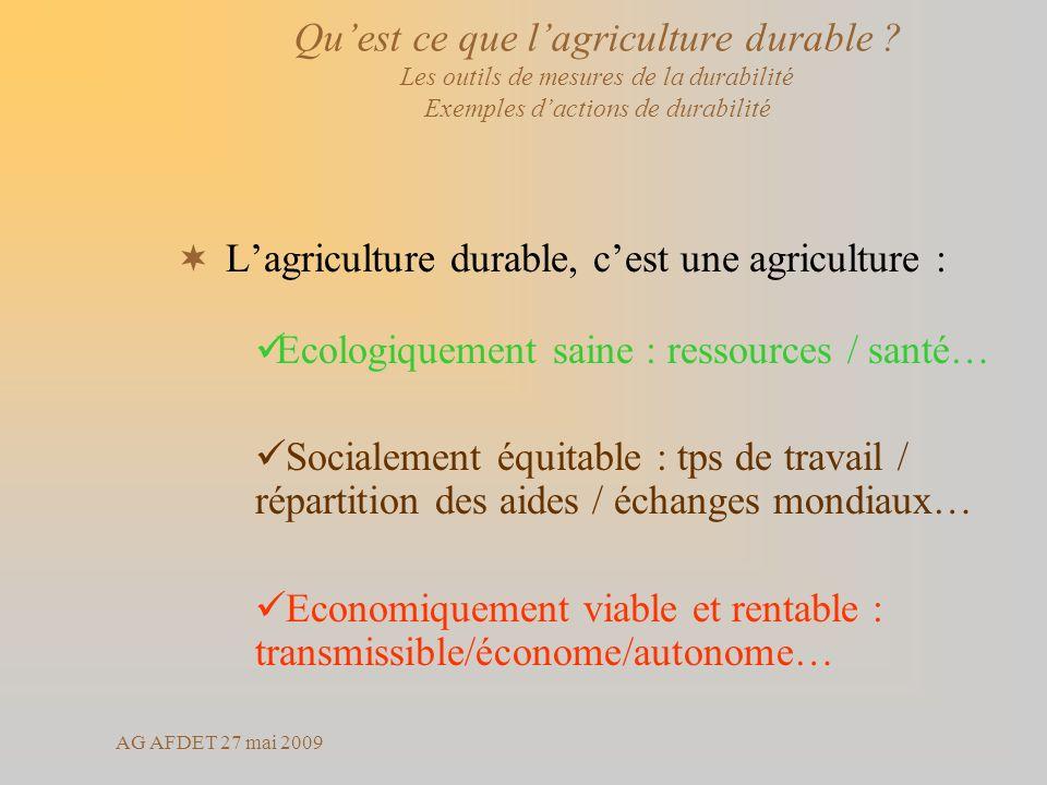 AG AFDET 27 mai 2009 Lagriculture durable, cest une agriculture : Ecologiquement saine : ressources / santé… Socialement équitable : tps de travail /