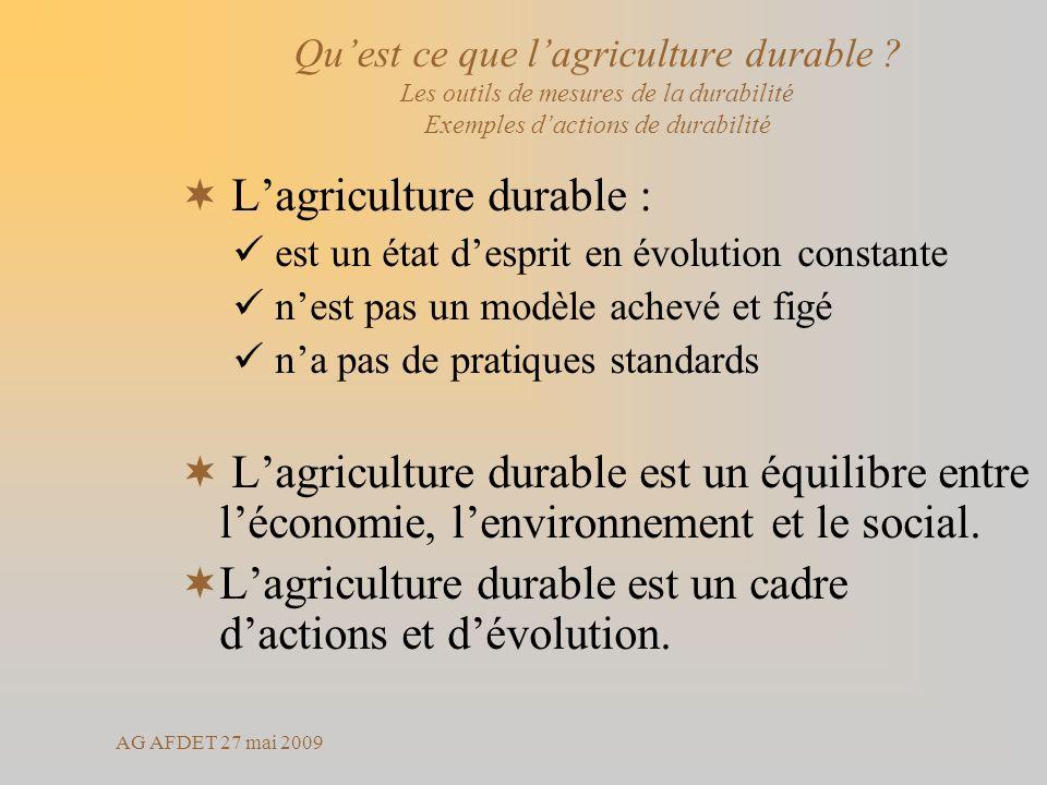 AG AFDET 27 mai 2009 Lagriculture durable : est un état desprit en évolution constante nest pas un modèle achevé et figé na pas de pratiques standards