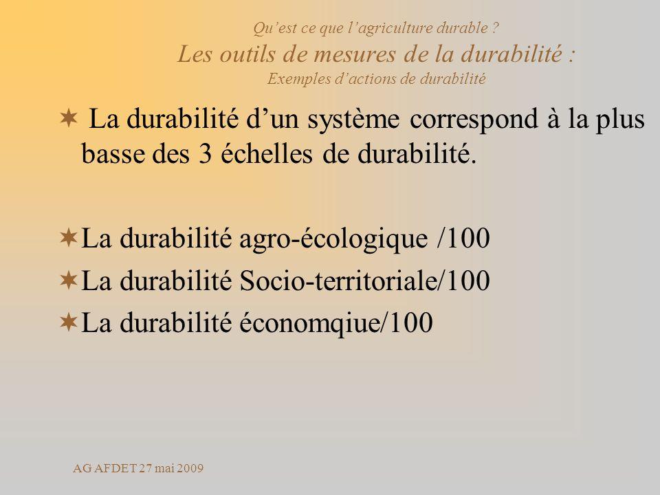 AG AFDET 27 mai 2009 La durabilité dun système correspond à la plus basse des 3 échelles de durabilité. La durabilité agro-écologique /100 La durabili