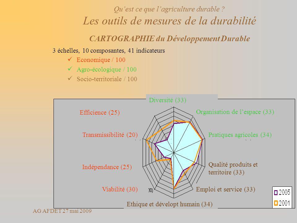 AG AFDET 27 mai 2009 3 échelles, 10 composantes, 41 indicateurs Economique / 100 Agro-écologique / 100 Socio-territoriale / 100 Organisation de lespac