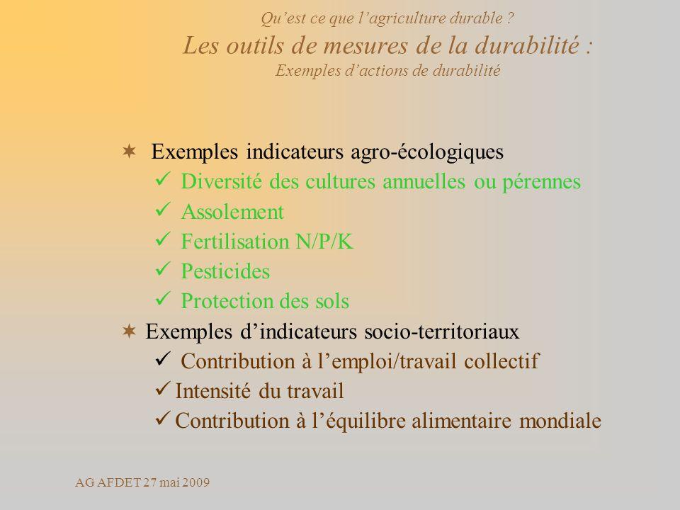 AG AFDET 27 mai 2009 Exemples indicateurs agro-écologiques Diversité des cultures annuelles ou pérennes Assolement Fertilisation N/P/K Pesticides Prot