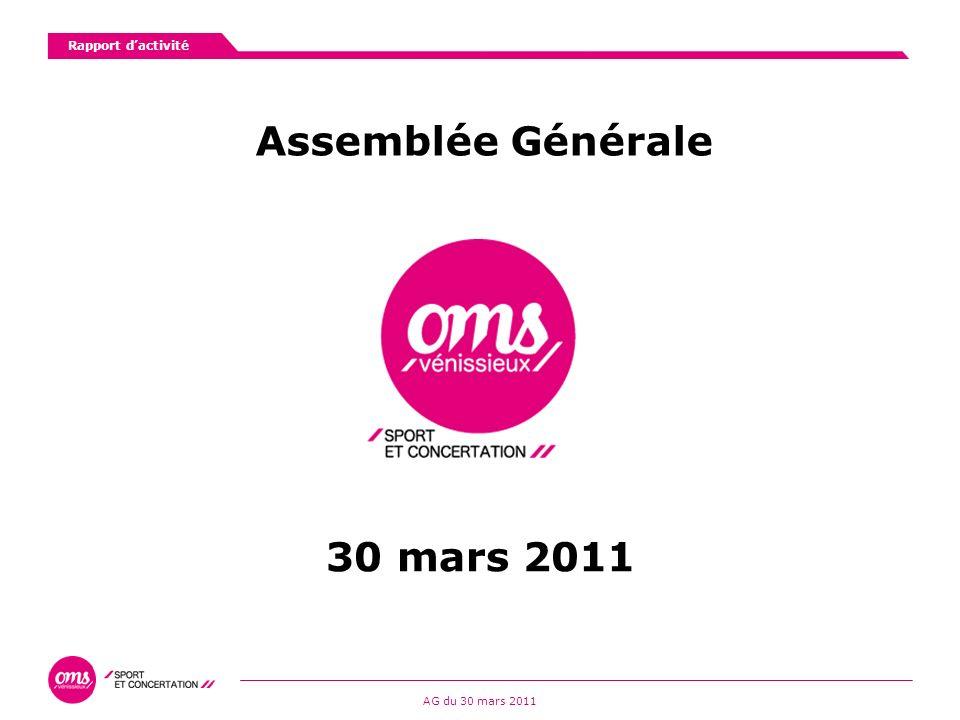 Rapport dactivité AG du 30 mars 2011 Assemblée Générale 30 mars 2011