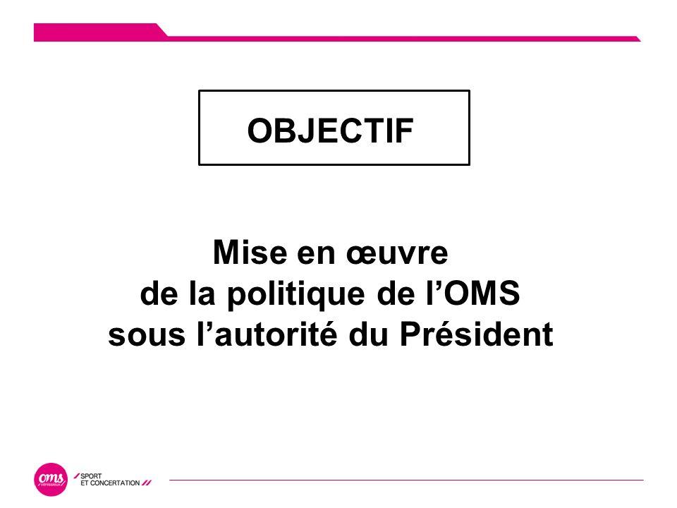 Bilan dactivité OBJECTIF Mise en œuvre de la politique de lOMS sous lautorité du Président