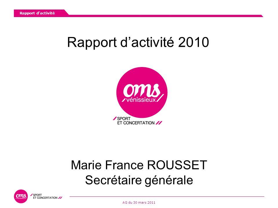 Rapport dactivité AG du 30 mars 2011 Rapport dactivité 2010 Marie France ROUSSET Secrétaire générale
