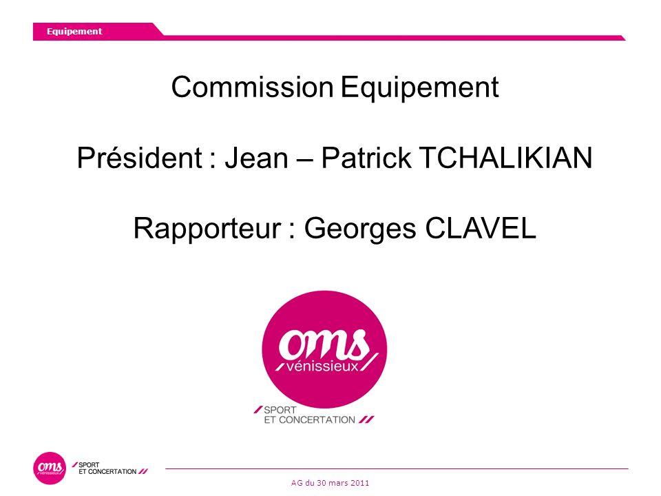 Commission Equipement Président : Jean – Patrick TCHALIKIAN Rapporteur : Georges CLAVEL Equipement AG du 30 mars 2011