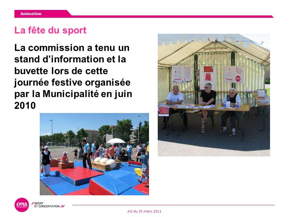La fête du sport La commission a tenu un stand dinformation et la buvette lors de cette journée festive organisée par la Municipalité en juin 2010 Animation AG du 30 mars 2011