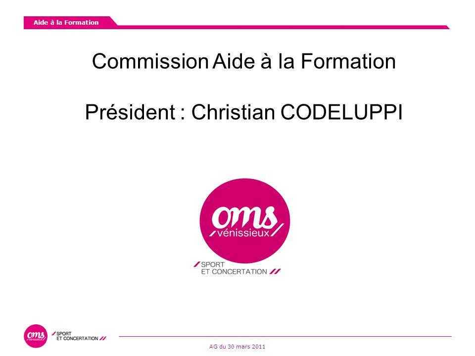 Commission Aide à la Formation Président : Christian CODELUPPI Aide à la Formation AG du 30 mars 2011