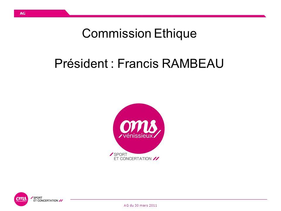 Commission Ethique Président : Francis RAMBEAU AG AG du 30 mars 2011