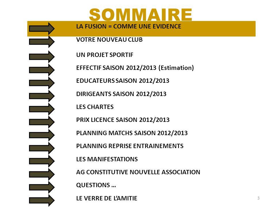 LA FUSION = COMME UNE EVIDENCE 3 SOMMAIRE VOTRE NOUVEAU CLUB UN PROJET SPORTIF EFFECTIF SAISON 2012/2013 (Estimation) EDUCATEURS SAISON 2012/2013 DIRI