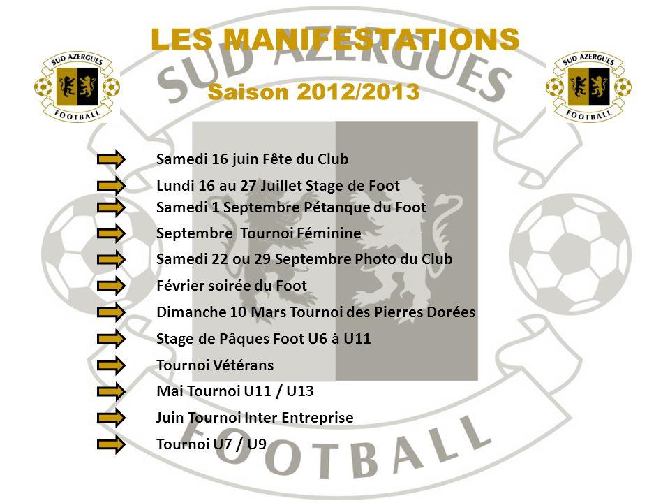 30 Saison 2012/2013 LES MANIFESTATIONS Samedi 16 juin Fête du Club Lundi 16 au 27 Juillet Stage de Foot Septembre Tournoi Féminine Samedi 22 ou 29 Sep
